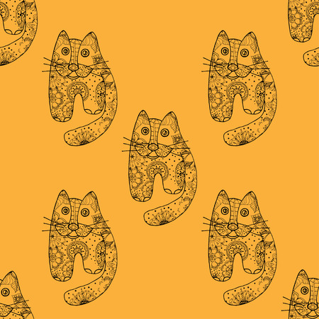 meow: Seamless pattern with cute cats, vector illustration Illustration