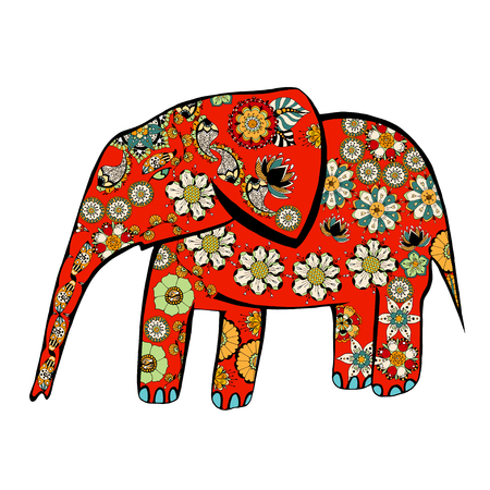 safari animals: The cheerful elephant. The silhouette of the elephant collected from various elements of a flower ornament.