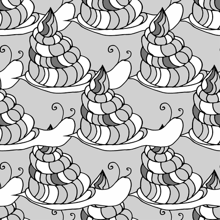 fabric roll: Doodle seamless pattern of snail. Can be used for coloring book design, for fabric textile printing design, for roll wallpapers