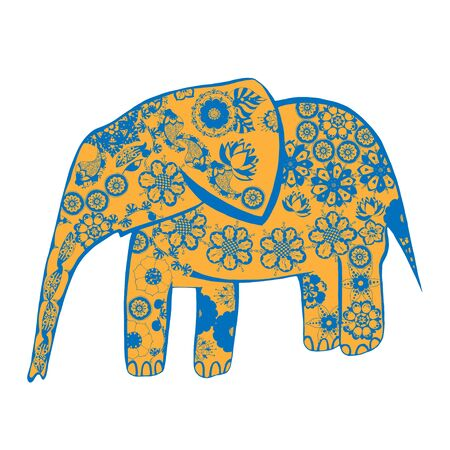 hoofed mammal: The cheerful elephant. The silhouette of the elephant collected from various elements of a flower ornament.