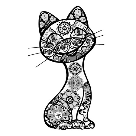 funny cats with floral ornament.