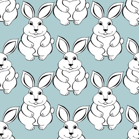 coney: Rabbit sketch seamless pattern background. Illustration