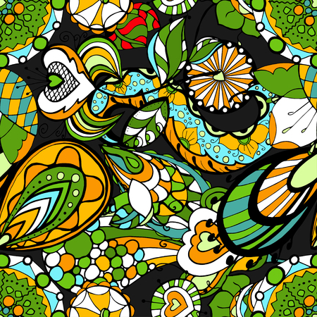 Seamless abstract hand-drawn floral pattern.