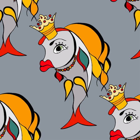 crown tail: Seamless background of Goldfish with crown Illustration