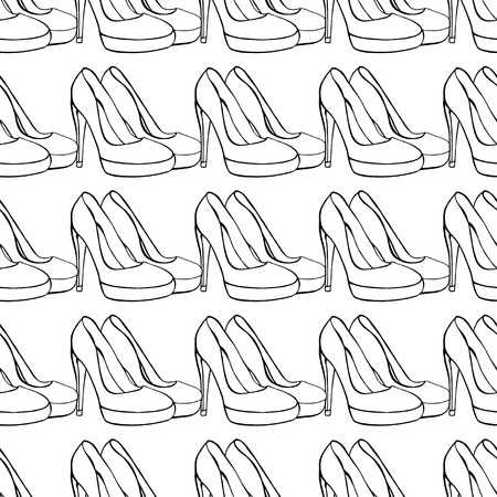 brogues: Seamless background of Womens shoes.  Illustration