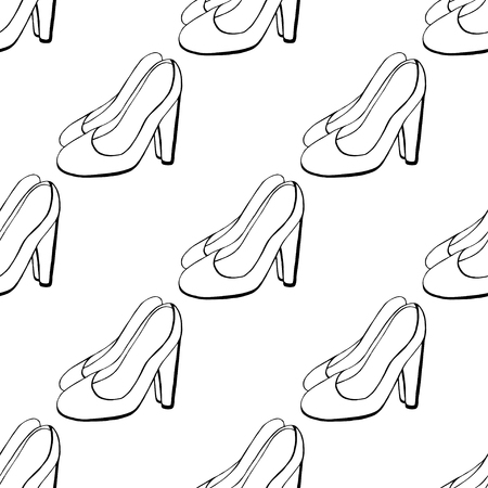 Seamless background of Womens shoes.