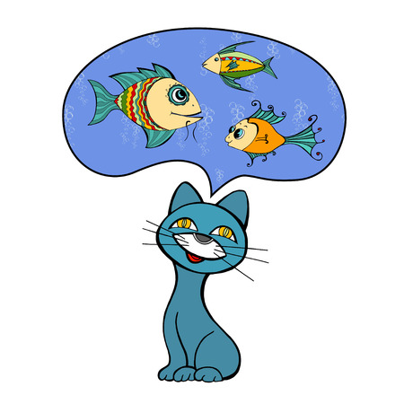 funny: Funny cat dreaming of fish.