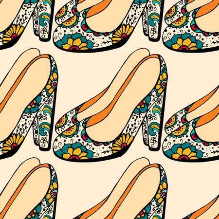 Seamless background of Womens shoes.  Illustration
