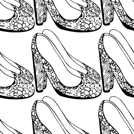 brogues: Seamless background of Womens shoes.