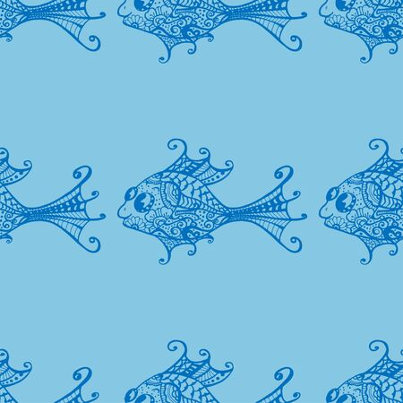 blue fish: Seamless of fish background. Blue. Vector illustration