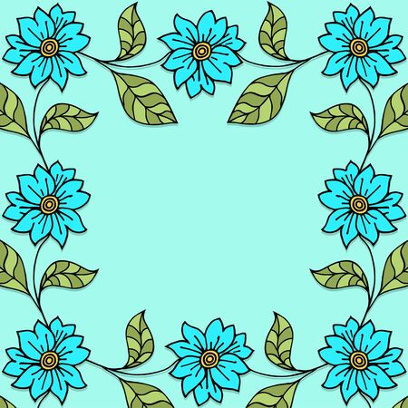 be the identity: Vector illustration  with hand drawn fantasy plants and flowers, pattern can be used for Corporate identity,  stylish  card or invitation