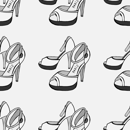 brogues: Seamless background of Womens shoes. Sketch. Vector illustration Illustration