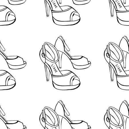 Seamless background of Womens shoes. Sketch. Vector illustration Illustration