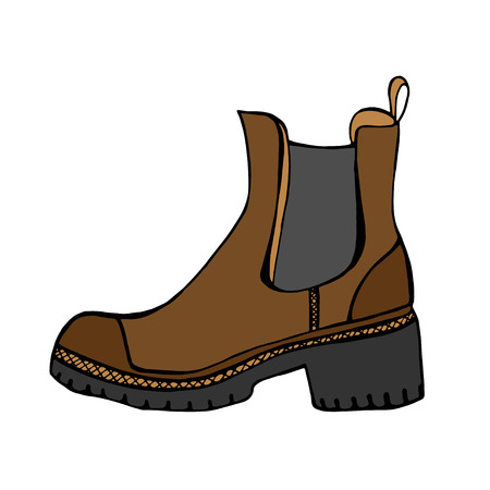 foot soldier: Brown Boots. Vector illustration. Isolated on white