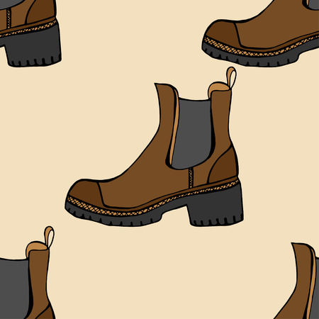 casing: Vector seamless pattern with shoes of sketches by hand with the image of different shoes on a background