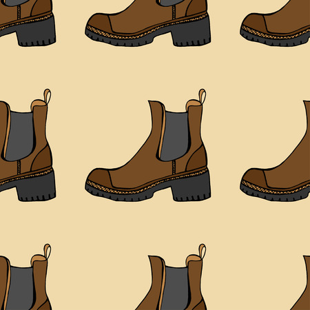 leather goods: Vector seamless pattern with shoes of sketches by hand with the image of different shoes on a background