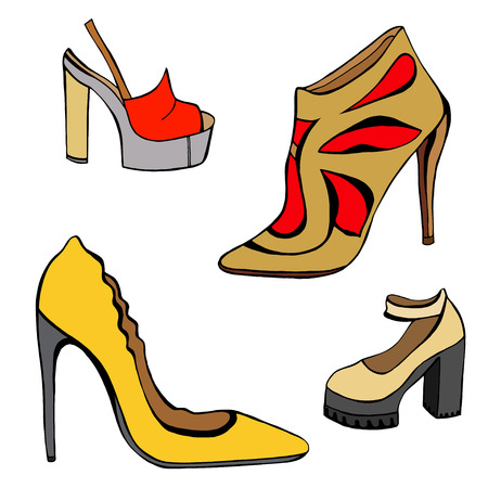 Vector illustration of woman shoes set. Hand-drown objects illustrations. Spring-summer fashion collection. Illustration