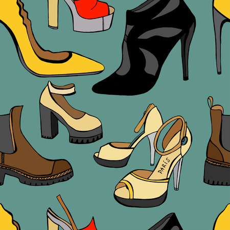 women's shoes: Seamless background of Womens shoes. Sketch. Vector illustration Illustration