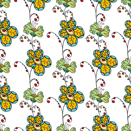 swatch book: Seamless Floral Pattern. Hand Drawn Floral Texture, Decorative Flowers Illustration