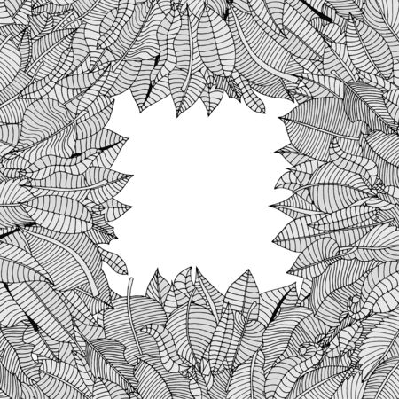 rimmed: Beautiful square frame of cartoon leaves. Vector illustration Vectores