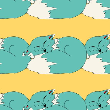sloppy: Cats. hand drawn seamless pattern background. Vector illustration