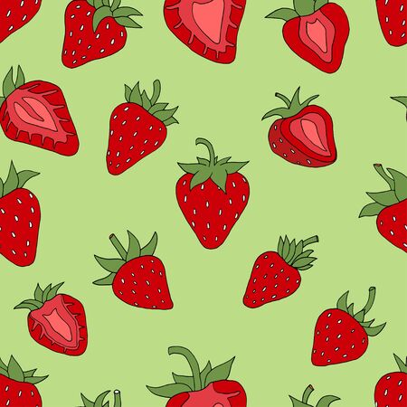 contemporary taste: Seamless pattern Background of Red strawberries background. Hand drawn sketch. vector