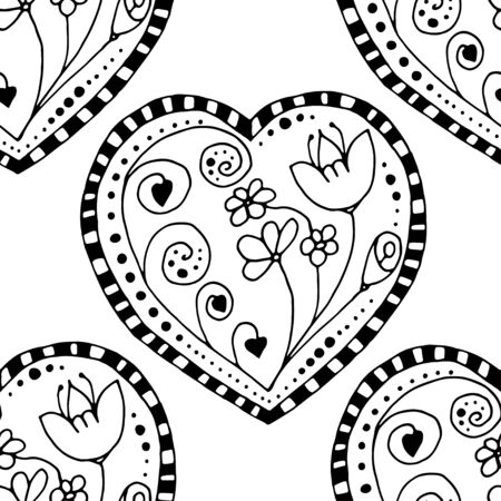 swirls vector: Seamless grayscale Sketchy Doodle Heart Swirls Vector Illustration background