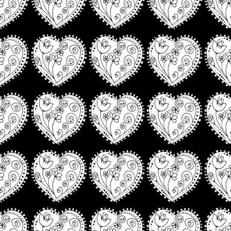 grayscale: Seamless grayscale Sketchy Doodle Heart Swirls Vector Illustration background