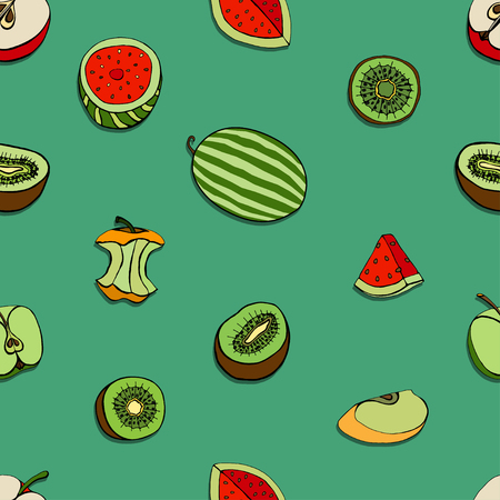 color selection: Vector Seamless Pattern of Sketch Fruits background
