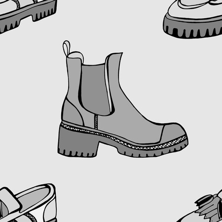 casing: Monochrome Vector seamless pattern with Autumn shoes of sketches by hand with the image of different shoes on a background