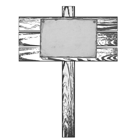 nailed: Monochrome Wooden signpost with nailed paper sheet.