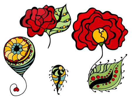Set of Floral drawings. Ilustracja