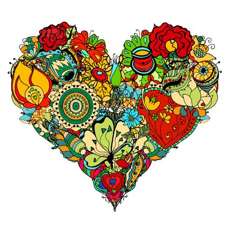 Hand drawn Heart of flower doodle background.