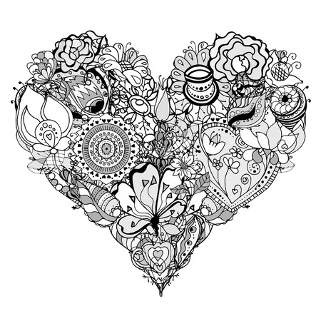 flower heart: Hand drawn Heart of flower doodle background.