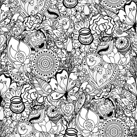 Seamless Contour Floral Pattern. Hand Drawn Monochrome Floral Texture, Decorative Flowers, Coloring Book