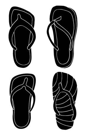 thongs: Set of black thongs isolated on white background.