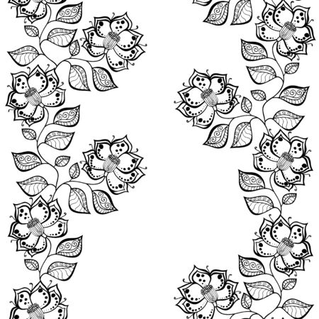 swirls: Seamless grayscale Sketchy Doodle Heart Swirls Vector Illustration background