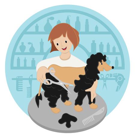 groomer: Pet hairdresser woman with dog vector Illustration image Illustration