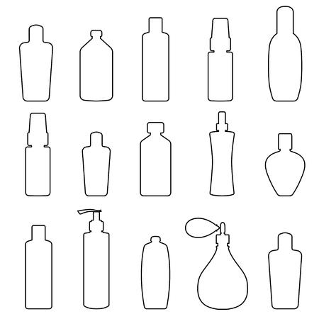streckbilder: Uppsättning av handritade flakonger, line art, svart på vitt Illustration