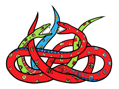 improbable: Two ornate snakes. Hand drawn illustration with tangle of two colorful snakes, stained glass style drawing. White background. Illustration