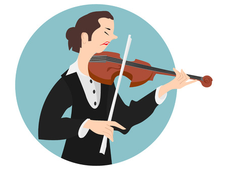 violinist: Vector Illustration of Violinist Woman or Beautiful Girl Playing the Violin Instrument Illustration