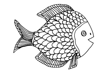 peces caricatura: Zentangle estilizado Fish. Mano garabato dibujado ilustración vectorial aislados en fondo blanco. Boceto para tatuaje o makhenda. Recogida de alimentos del mar.