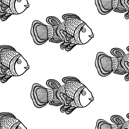 clownfish: Anemonefish (Clownfish) monochrome seamless vector pattern