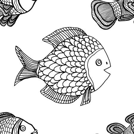 peces payaso: Anemonefish (payaso) modelo monocrom�tico incons�til del vector Vectores