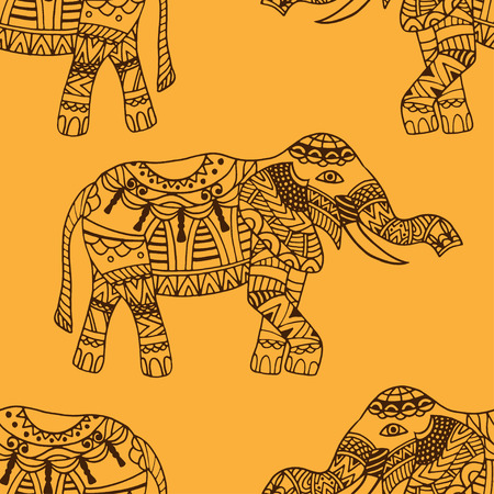 festal: seamless texture with stylized patterned elephants in Indian style. Vector background