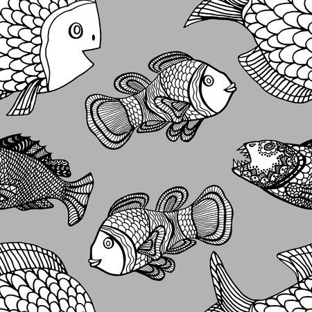 anemonefish: Anemonefish (Clownfish) monochrome seamless vector pattern
