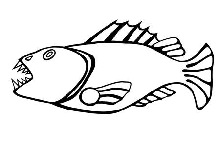side menu: Monochrome Drawn hand sketch the evil toothy fish.