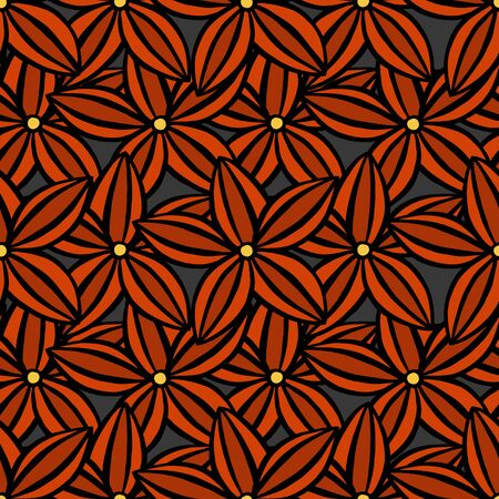 Vector creative hand-drawn abstract seamless pattern of stylized flowers in of red and scarlet Ilustração