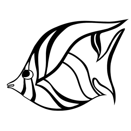 fish type: stylized Fish. Hand Drawn doodle vector illustration isolated on white background. Sketch for tattoo or makhenda. Sea food collection.