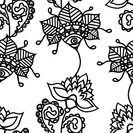 swatch book: Seamless Monochrome Floral Pattern. Hand Drawn Floral Texture, Decorative Flowers